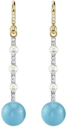Irene Neuwirth Turquoise and Pearl Stick Earrings - Yellow Gold