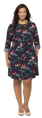 Merona Women's Plus Size Rolled-Sleeve Shirt Dress