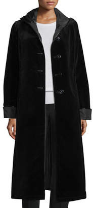 Jane Post Hooded Velvet Midi Coat, Black