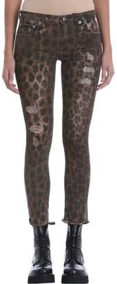 R 13 Kate Leopard Print Skinny Jeans