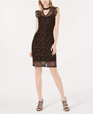 Bar III Lace Animal-Print Choker Dress