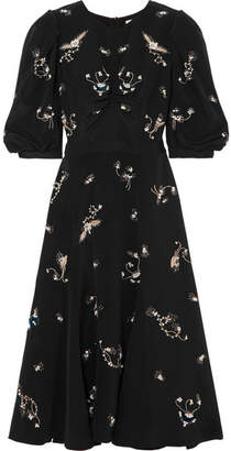 Erdem Esmerelda Embellished Silk Midi Dress - Black