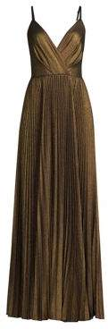 Laundry by Shelli Segal Pleated Spaghetti Strap Metallic A-Line Gown