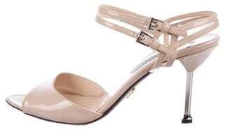 Prada Patent Leather Ankle-Strap Sandals