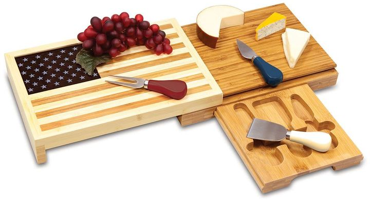 Picnic Time Old Glory 4-pc. Bamboo Cheese Board Set