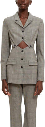 Opening Ceremony Snap Front Plaid Blazer
