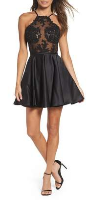 La Femme Embellished Illusion Bodice Skater Dress