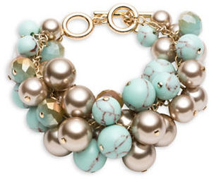 CaroleeCarolee Turquoise Sands Faux Pearl Beaded Bracelet