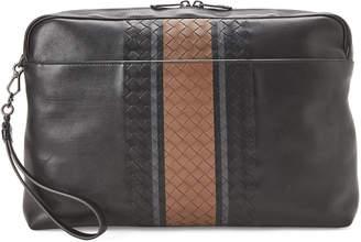 Bottega Veneta Black & Brown Intrecciato Stripe Zip Case