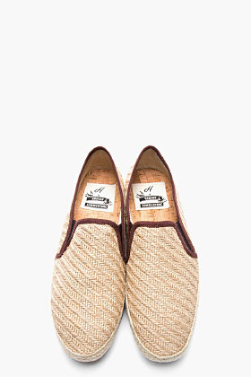 Hudson H BY Beige and purple braided Hessian orca loafers