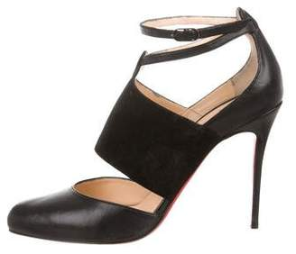 Christian Louboutin Leather Ankle Strap Pumps