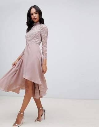Asos Design DESIGN midi dress with long sleeve embellished bodice