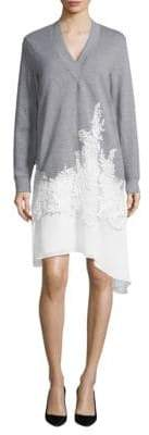 BCBGMAXAZRIA Lace-Trim V-Neck Sweater Dress