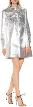 Calvin Klein Metallic leather shirt dress