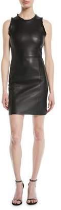 Emporio Armani Sleeveless Ruffle-Trim Leather Sheath Dress with Back Zip