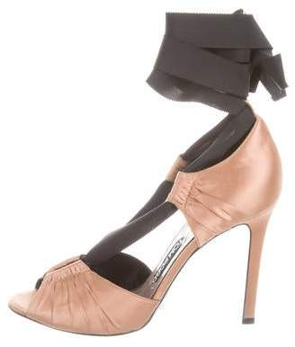 Tom Ford Lace-Up Peep-Toe Pumps