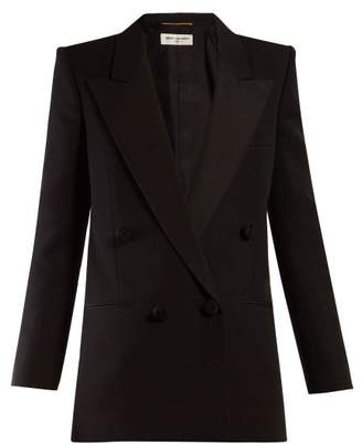 Saint Laurent Double Breasted Wool Blazer - Womens - Black