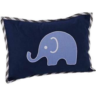 Bacati Elephants Dec Pillow 12 x 16 inches with removable 100% Cotton cover and polyfilled pillow insert, Blue/Gray