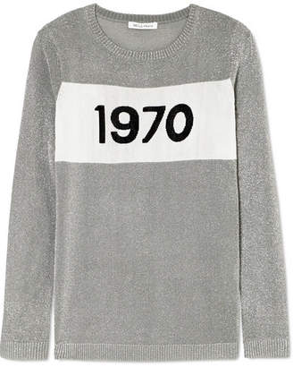 Bella Freud Sparkle 1970 Metallic Knitted Sweater - Silver