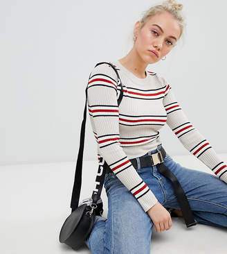 Asos DESIGN Petite cropped jumper in neutral stripe