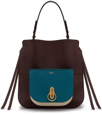 7ed296d99c at Mulberry · Mulberry Amberley Hobo Metal Blue and Oxblood Silky Calf