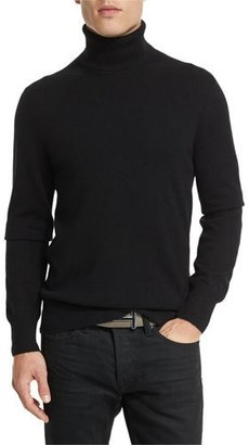 TOM FORD Classic Flat-Knit Cashmere Turtleneck Sweater, Black $1,290 thestylecure.com