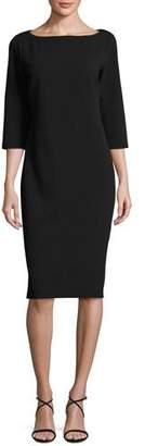 Joan Vass 3/4-Sleeve Textured Slim Dress, Black, Petite