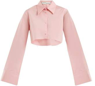 Off-white - Point Collar Cotton Cropped Shirt - Womens - Pink