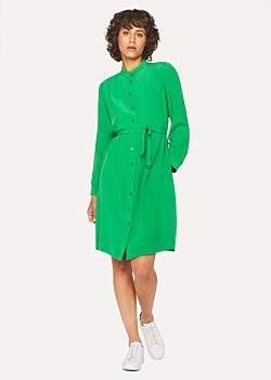 Women's Green Silk Henley Shirt Dress