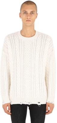 The Kooples Distressed Cashmere Blend Cable Sweater