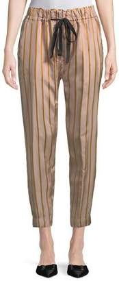 Giada Forte Drawstring Striped Jogger Pants