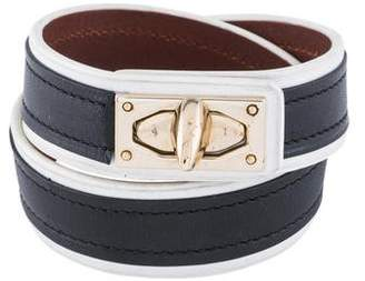 Givenchy Shark Tooth Double Wrap Leather Bracelet