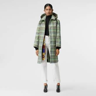 Burberry Detachable Hood Check Bonded Cotton Car Coat