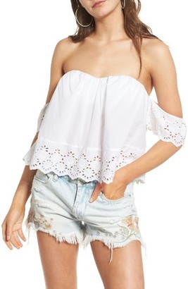 Women's Bp. Eyelet Off The Shoulder Crop Top $45 thestylecure.com