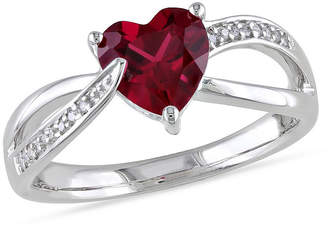 FINE JEWELRY Womens Diamond Accent Lab Created Red Ruby Sterling Silver Heart Cocktail Ring