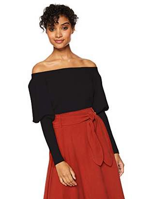 Cable Stitch Women's Off-Shoulder Puff Sleeve Sweater