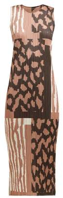 Pleats Please Issey Miyake Window Glass Print Pleated Dress - Womens - Beige