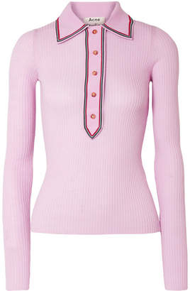Acne Studios Ribbed Merino Wool Sweater - Baby pink