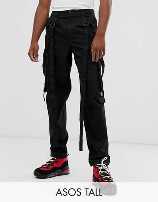 Asos Design DESIGN Tall cargo pants in black with strapping
