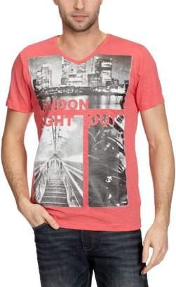 Cross Jeans Men's V-Neck 1/2 Sleeve T-Shirt - Orange - - (Brand size: XL)