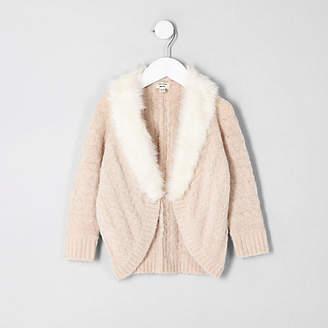 River Island Mini girls Beige cable knit faux fur cardigan