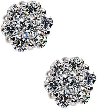 Neiman Marcus Diamonds 14k White Gold Diamond Flower Stud Earrings, 1.2tcw