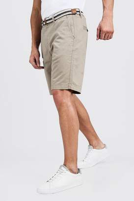 boohoo Slim Fit Cotton Chino Shorts With Belt