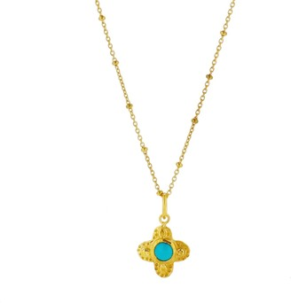 Yvonne Henderson Jewellery Clover Necklace with Turquoise Stone Gold