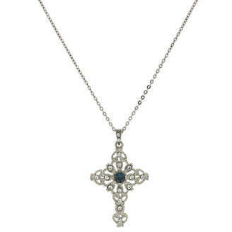 Blue Cross 1928 SYMBOLS OF FAITH 1928 Symbols Of Faith Religious Jewelry Womens Pendant Necklace