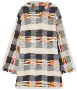 Missoni Oversized Fringed Checked Intarsia Knitted Hoodie - Gray