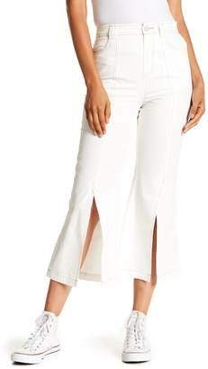 ENGLISH FACTORY Split Wide Leg Cropped Jeans
