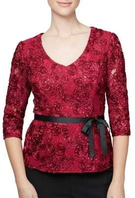 Alex Evenings Rosette Self-Tie Lace Blouse