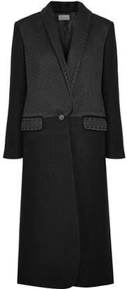 Temperley London Dragon Metallic Embroidered Satin-Paneled Wool Coat