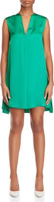 Alysi Green V-Neck Satin Tent Dress